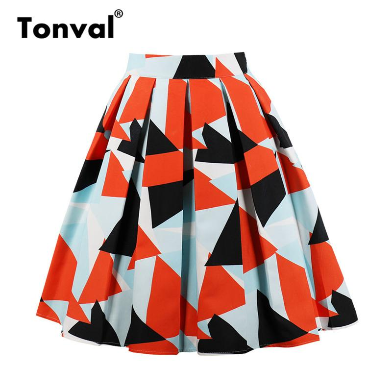 6e7d824bc Tonval Vintage mujeres diseños geométricos faldas plisadas para mujer  naranja imprimir más tamaño falda midi falda de cintura alta de verano
