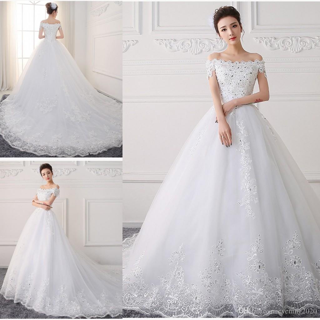 Discount Elegant White Lace 2018 Wedding Dresses Off Shoulder Sexy