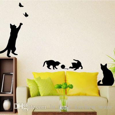 Cat Switch Stickers Wall Stickers Cute Butterfly Home Decoration ...