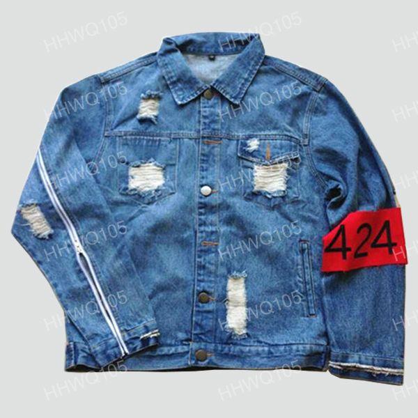 424 Denim Biker Chaqueta para hombre Hip Hop Ripped angustiado Jean Chaquetas con cremallera de manga larga Primavera Otoño chaqueta Unisex Streetwear YYG1014