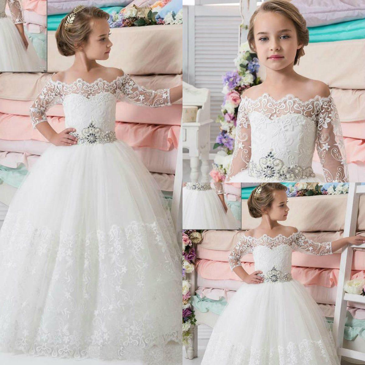 2018 Pretty Flower Girls Dresses Off Shoulder Lace Applique Beaded