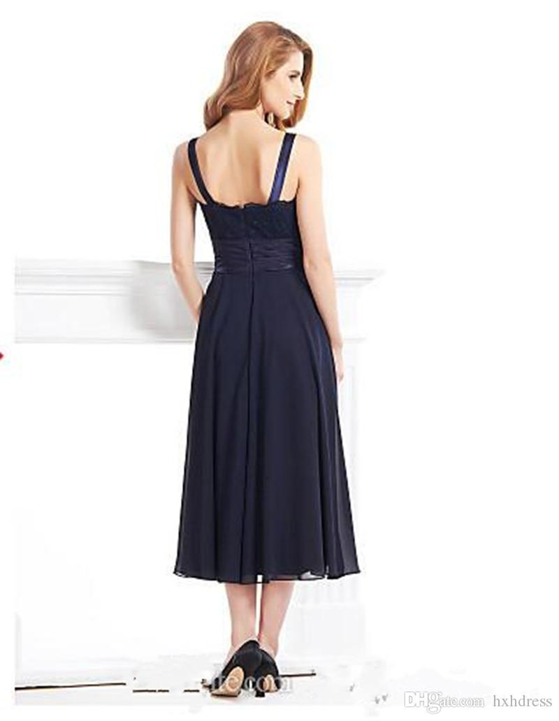 2019 New Sexy Tea-length 3/4 Length Sleeve Chiffon Lace with Lace A-line Mother of the Bride Dress vestidos de novia