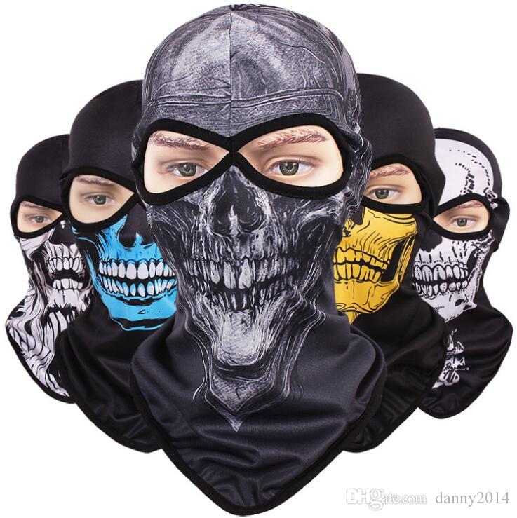 Cartoon print skull mask paintball full face protective ghost mask cycling masks Multi Function Headwear Skull Bandana Motorcycle Helmet