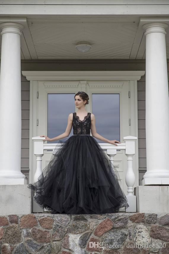 3b0f27a81aa Discount Gothic Black Wedding Gowns Sleeveless Top Lace V Neck A Line  Overskirts Removable Covered Buttons Bridal Gowns Robe De Mariee Wedding  Gown Designs ...