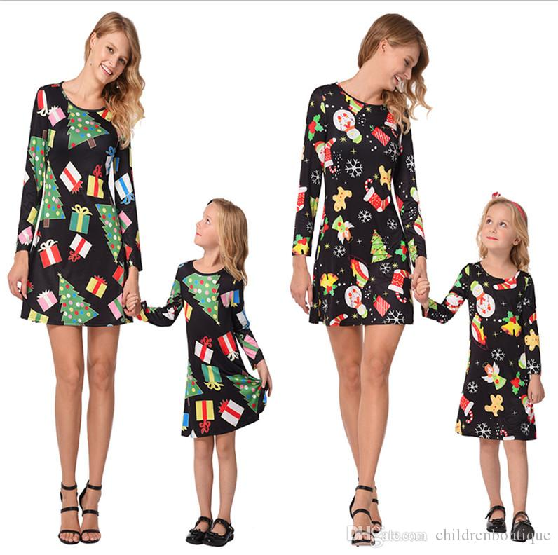 0d67a506f308e Mommy And Me Family Matching Clothes Mother And Daughter Matching Dresses  Christmas Snowmen Gift Printed Dress Family Look Kids Girl Outfits Matching  ...