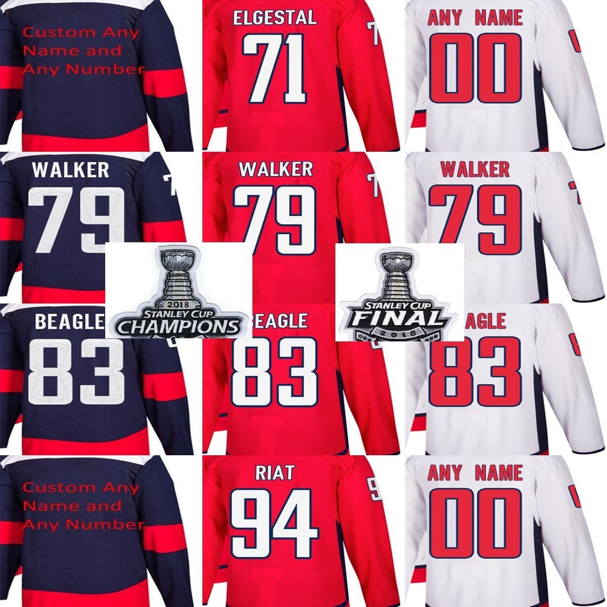 2018 Stanley Cup Champions Final Patch Men Washington Capitals Kevin  Elgestal Nathan Walker Jay Beagle Damien Riat Custom Hockey Jerseys 2018  Stanley Cup ... 023ffb3b5