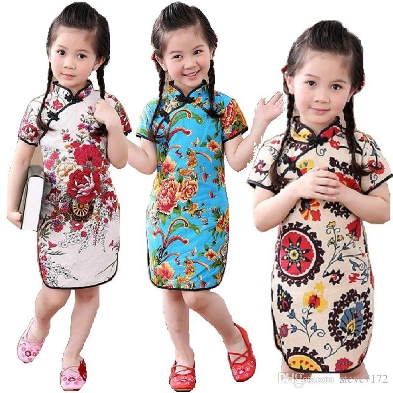 15b651902 Flower Baby Girl Dresses Summer Fashion Children Qipao Chinese New Year Girl's  Cheongsam Clothes Outfits Floral Chi-Pao Dress Skirts