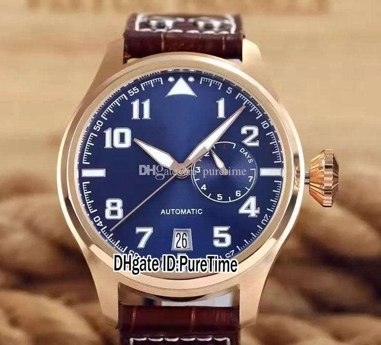New 46mm IW500908 Rose Gold Blue Dial Power Reserve Day Automatic Mens Watch Brown Leather Strap Sports Watches Cheap High Quality IW-A264