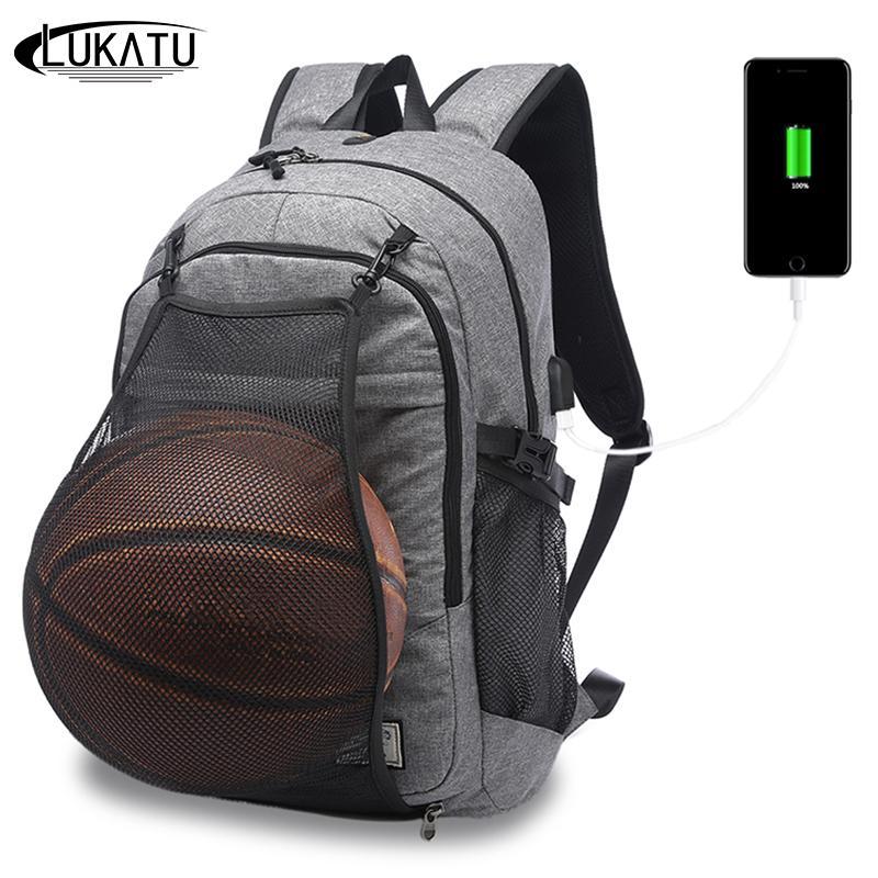 d807e2744453 LUKATU Men Backpack External USB Charge Port For 15.6 Inch Laptop Bag For  Teenager Boys Net Pocket Ball Backpacks Camo Backpack Batman Backpack From  ...