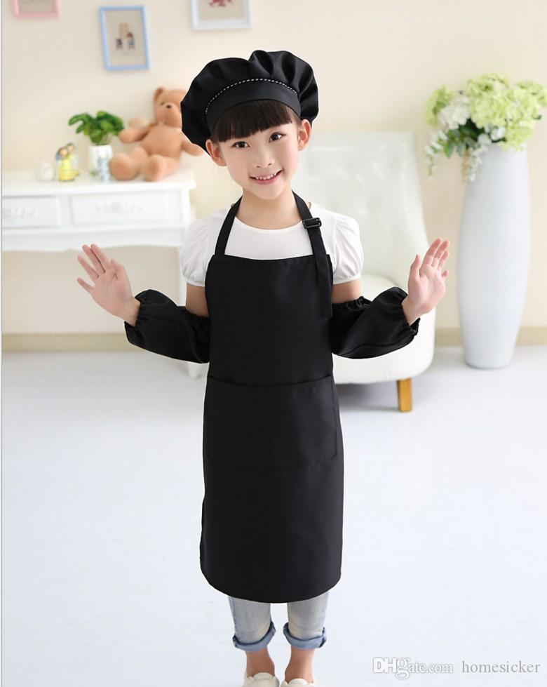 plain apron for kids kitchen children solid aprons with pockets chef pinafore polyester garden artist painting crafts girl boys party class