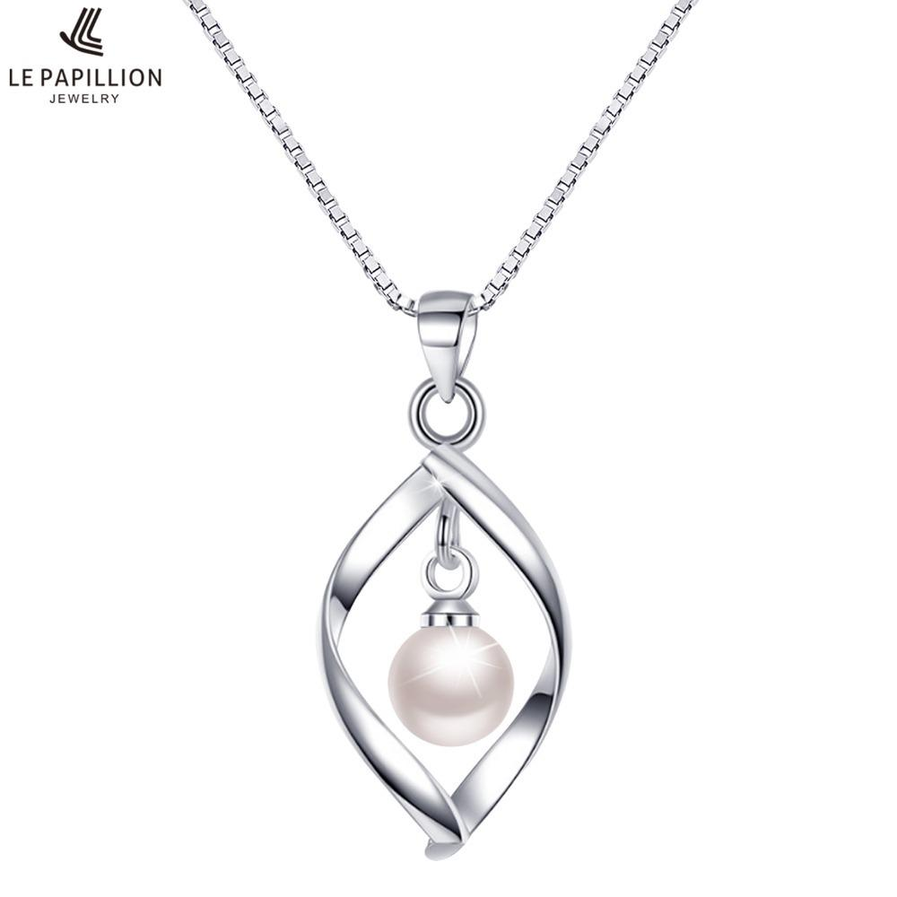0386bea9297b 2019 LE PAPILLION Women Necklace Plated Sliver Pearl Pendant Necklace  Simple Water Drop Polished Charm Collare Jewelry Gift For WomenY1882803  From ...
