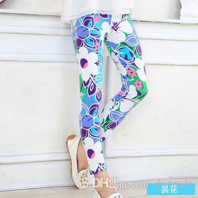 Fashion Girls Floral Print Leggings Primavera Fiocco di neve Latte Pantaloni lunghi di seta Morbidi calzamaglia sottili Pantaloni elastici Neonate Abbigliamento Abbigliamento bambini