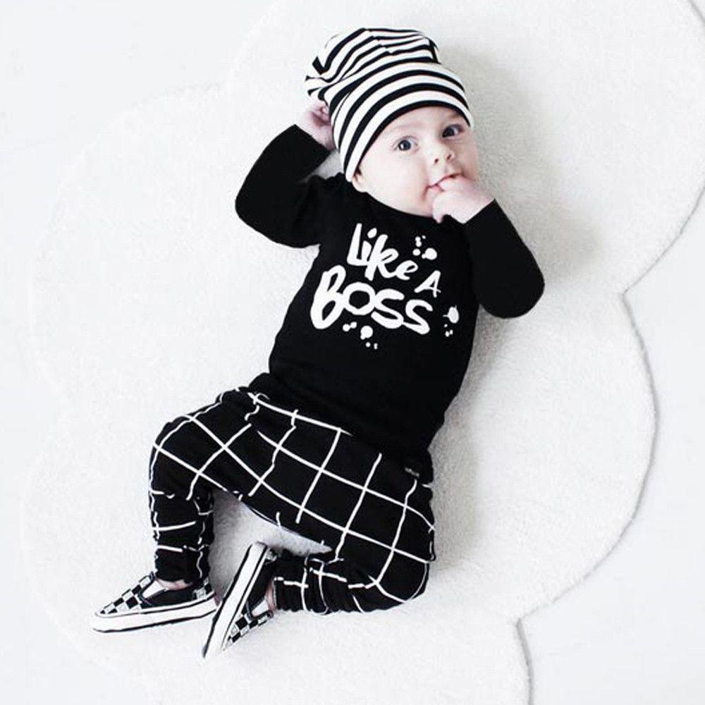 691c400813 Compre Crianças Coisas Bebê Menino Set Roupas Bebês Criança Bebê Recém  Nascido Roupas De Menina Lettering Manga Comprida T Shirt Tops + Calça  Roupas De ...
