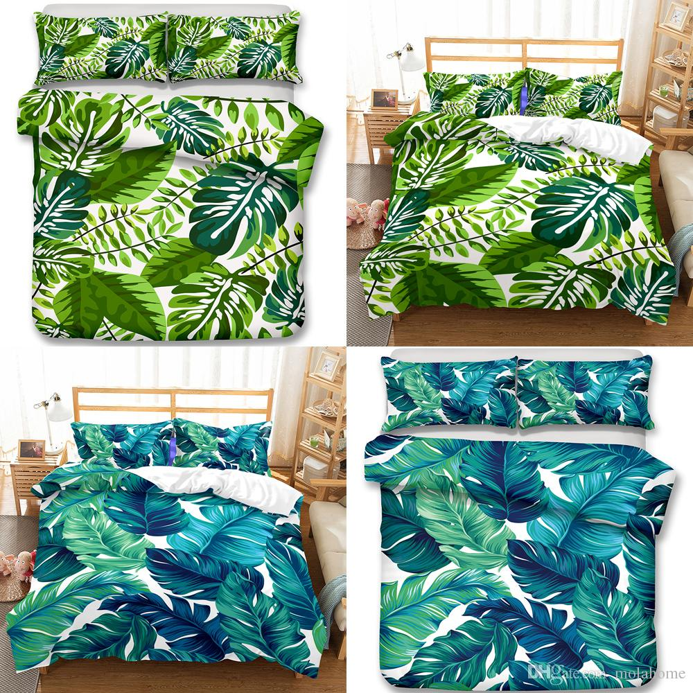 Green Leaf Luxury Bedding Set King Size Queen Bed Set Duvet Cover