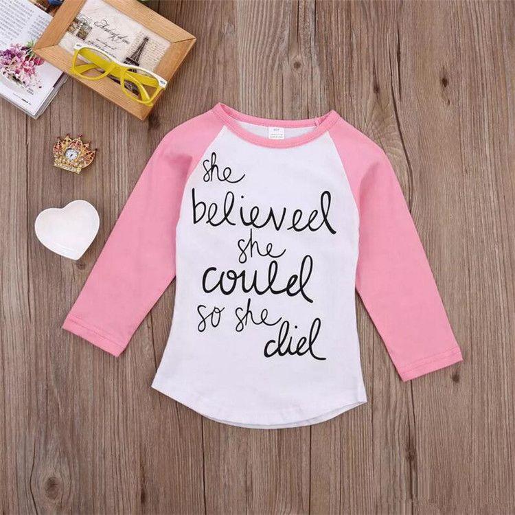 Rosa, manga larga, camiseta blanca, carta impresa de moda, moda para bebés, ropa para niños, ropa de algodón, para niños pequeños 2-7T, tops de fábrica B11