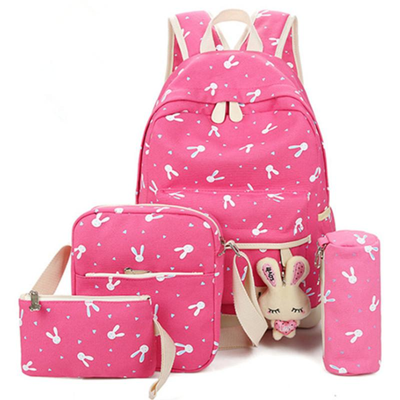4Pcs/Sets Backpack 2018 Cartoon Rabbit Printing School bag Canvas Schoolbags for Teenage Cute Girls Bookbag Children