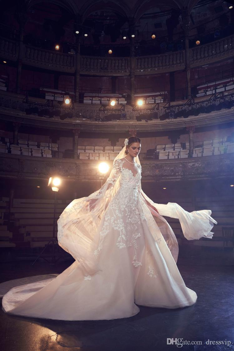 Elie Saab Wedding Dresses A Line Jewel Neck Sweep Train Lace Tulle Applique Beach Wedding Gowns Backless Long Sleeve Bridal Dress