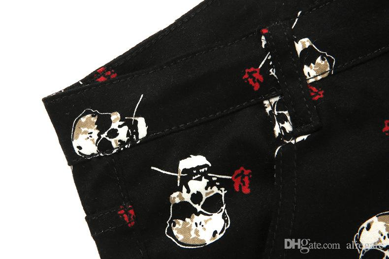 Men's Casual Pants Men's Black Personality Skull Print Youth Pop Casual Trousers Micro-elastic Skinny Feet Size 28-34