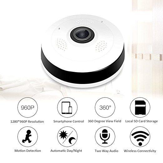 360 Derece Panoramik Balıkgözü Kablosuz Kapalı Güvenlik Kamera ile Gece Görüş, iki yönlü Ses Gözetleme güvenlik sizi evinizde tutmak için güvenli