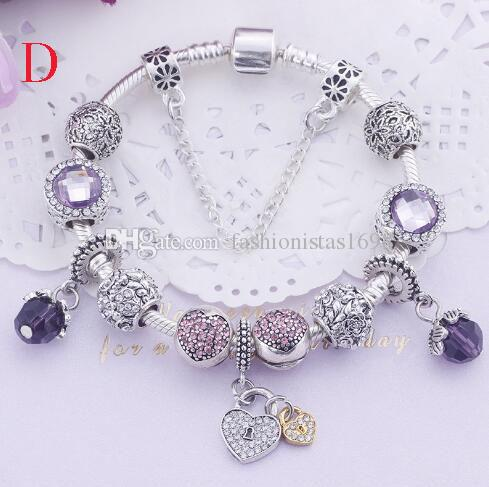 Mother's day gift purple pink crystal bracelet DIY colored glaze large hole alloy beads bracelet rhinestone bracelet