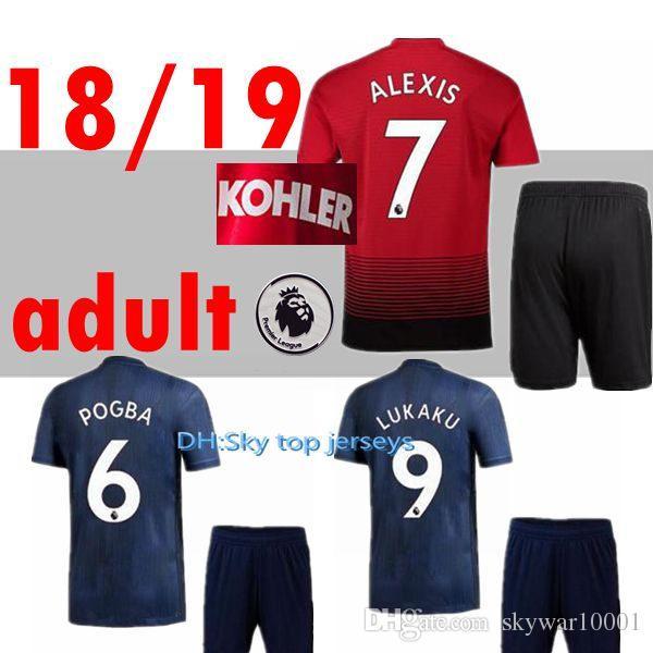 f73d2e908 18 19 Man Soccer Jerseys KITS Home 2018 2019 LUKAKU POGBA UTD MATIC ...