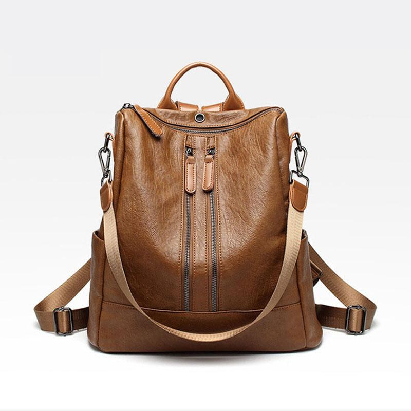 eb474c2d9ecf 2018 Luxury Women Backpack Genuine Leather Best Quality Black Female Fold Backpack  Fashion Lady Shoulder Bags Brown Girl Bag Hydration Backpack Womens ...