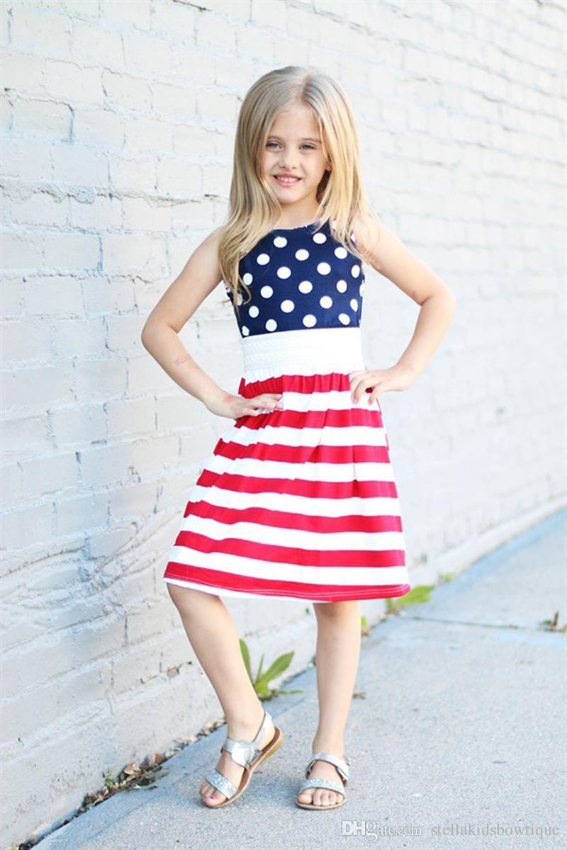 Vestiti senza maniche da giorno patriottico americano Abbigliamento da bambini Vestiti da ragazza da Todder Vestito da ragazze a pois Le vendite dirette della fabbrica