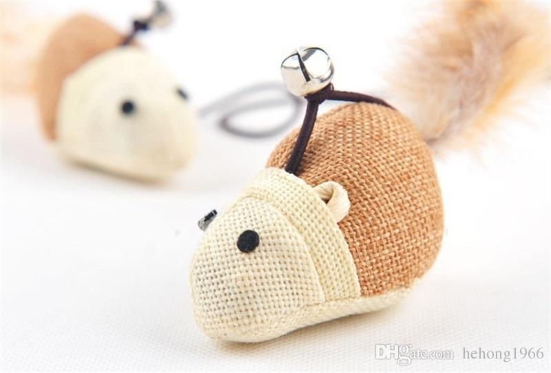 Wooden Mouse Animal Tease Sticks With Jingle Bell Creative Pet Cat Toys For Cats Training Outdoor Interactive Toys High Quality 2 5wm Z