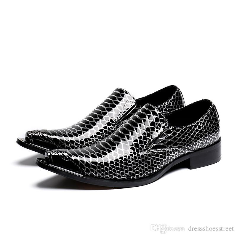 mens italian leather shoes sapato social dress wedding oxford shoes for men python skin black spiked loafers nubuck