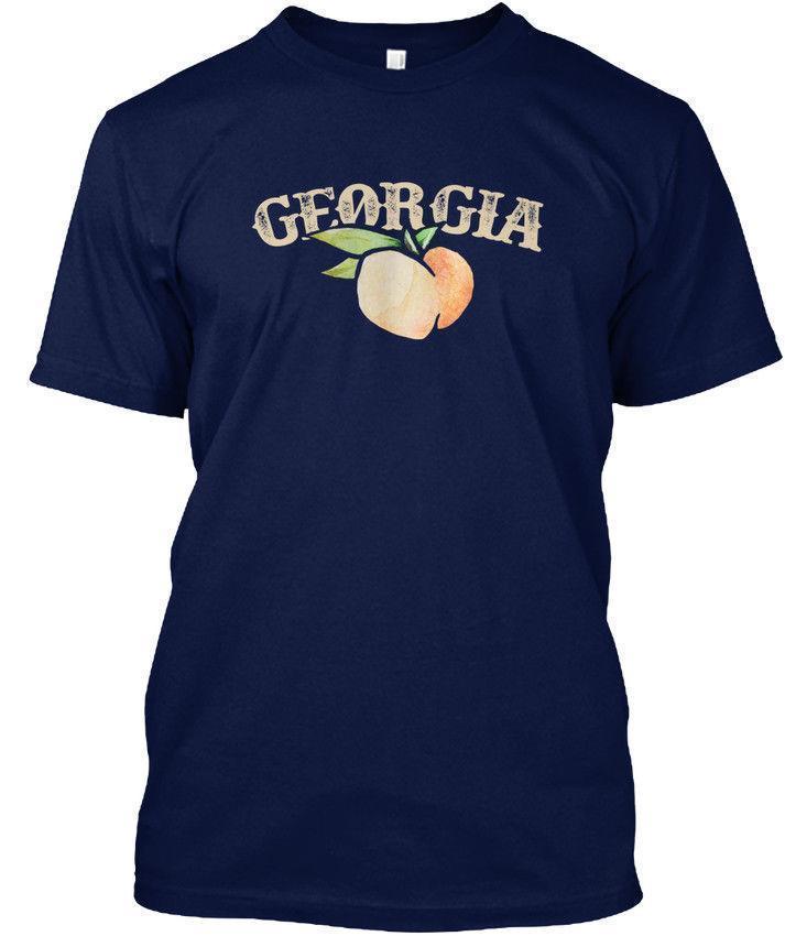 Georgia Peach Peachy Peaches - Wholesale Cool Casual Sleeves Cotton T-Shirt  Fashion New T Shirts Unisex Funny Tops Tee Tagless Tee T-Shirt