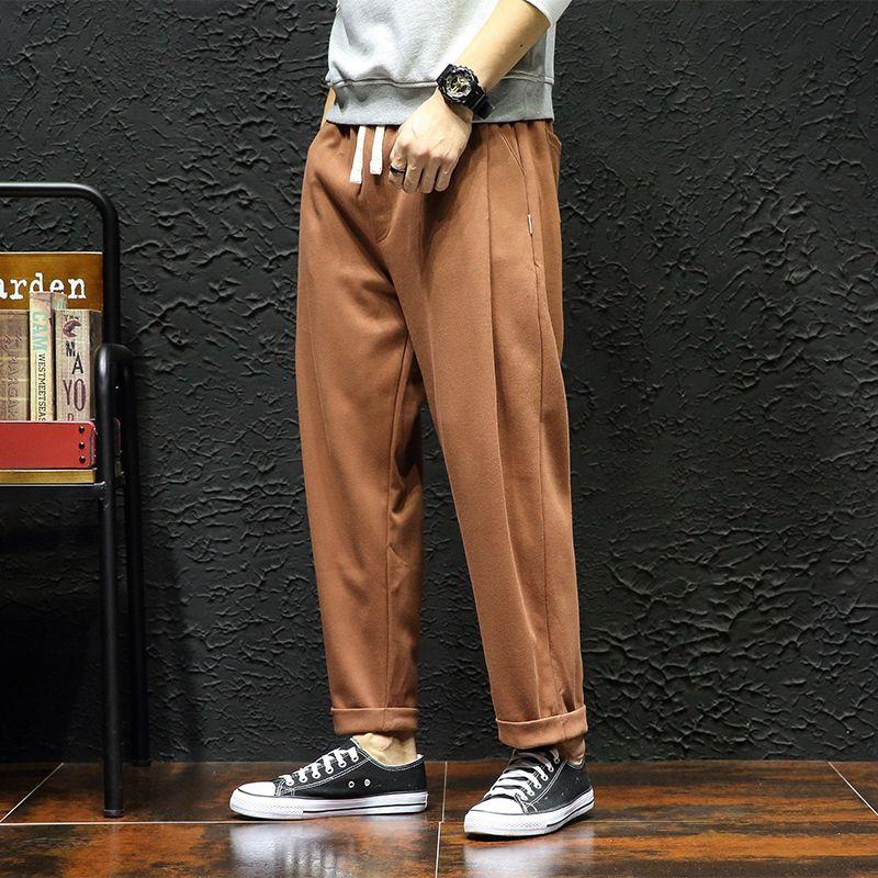 fd0bdbfe441 DEKUSI Caramel Color Wide Leg Pants Autumn And Winter Leisure sweatpants  Male Easy Hot Selling Casual trousers men clothing