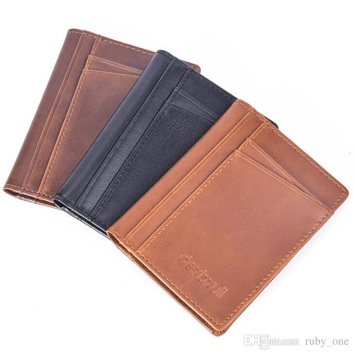 Men Fashion Solid Pu Leather Credit Card Holder Slim Wallet Men ...