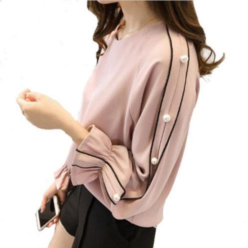 b473d3285e5ea Compre Talla Grande Camisa De Gasa Femenina 2018 Blusa De Moda Blusa Tops  Otoño Color Sólido Blusa Mujer Ropa De Mujer A  25.69 Del Modeng02