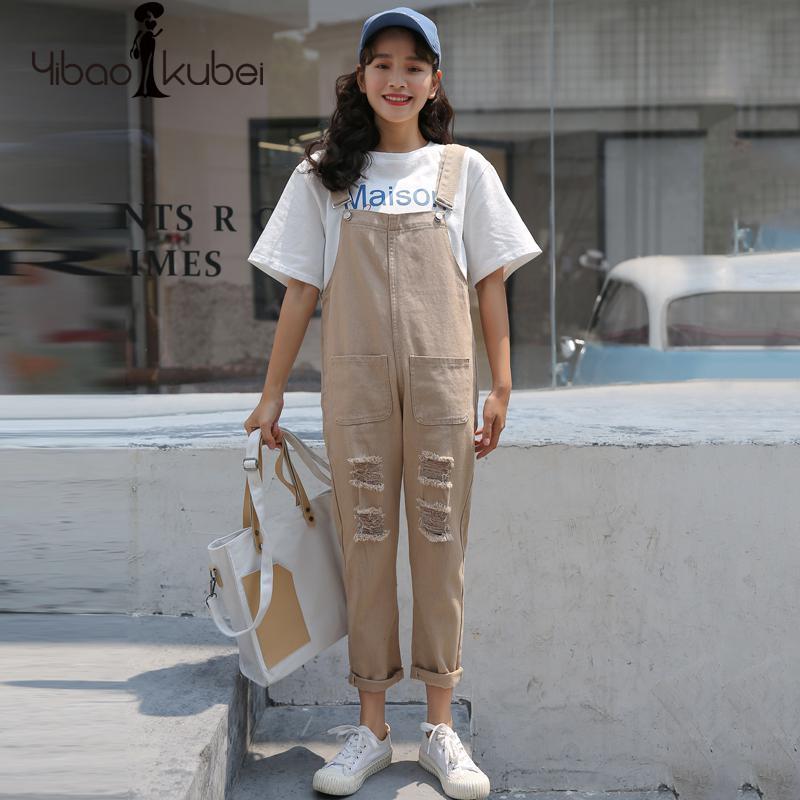 2019 2018 Women Denim Overalls High Waist Wide Leg Jeans Jumpsuit