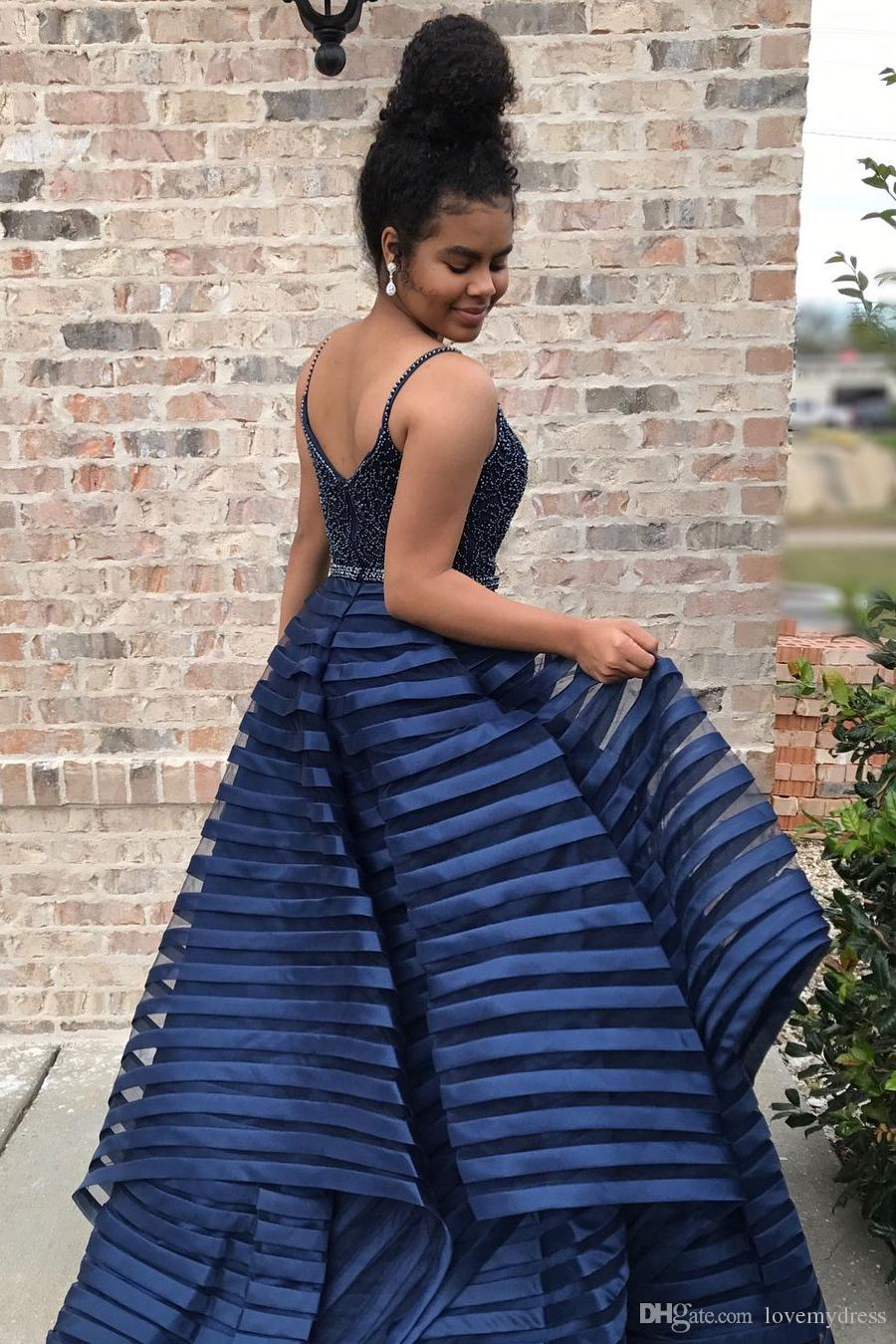Sexy Navy Unique Fabric Prom Dress Deep V neck With Spaghetti Straps 2018 Pearls Beaded Flowers Ruffles Ball Gown Organza Long Cheap Evening