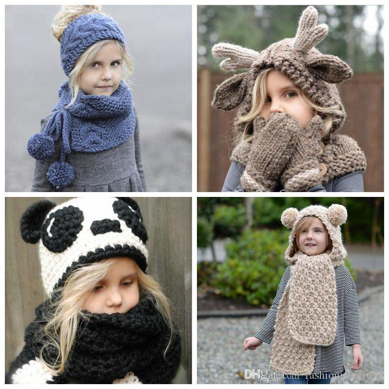 d48d0dbf1 Christmas gifts Autumn and Winter new children s Christmas Elk woolen hat  warm knitted Panda cartoon animal hat baby s hat scarf sets