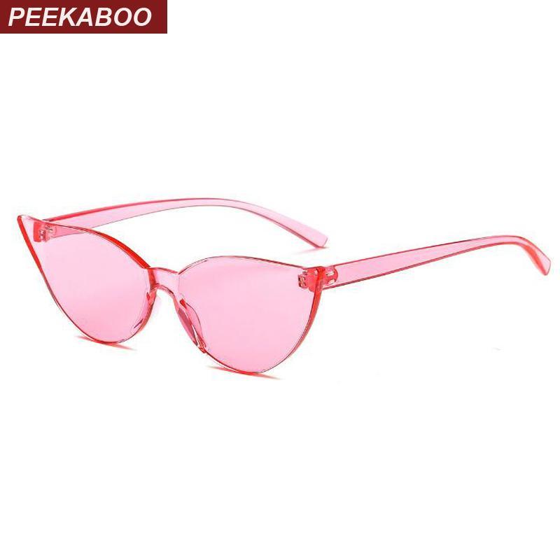 b8a9ccc565278 Compre Peekaboo Sem Aro Óculos De Sol Transparente Mulheres Barato 2019 One  Piece Lens Pequeno Olho De Gato Óculos De Sol Feminino Rosa Red Candy Cor  De ...