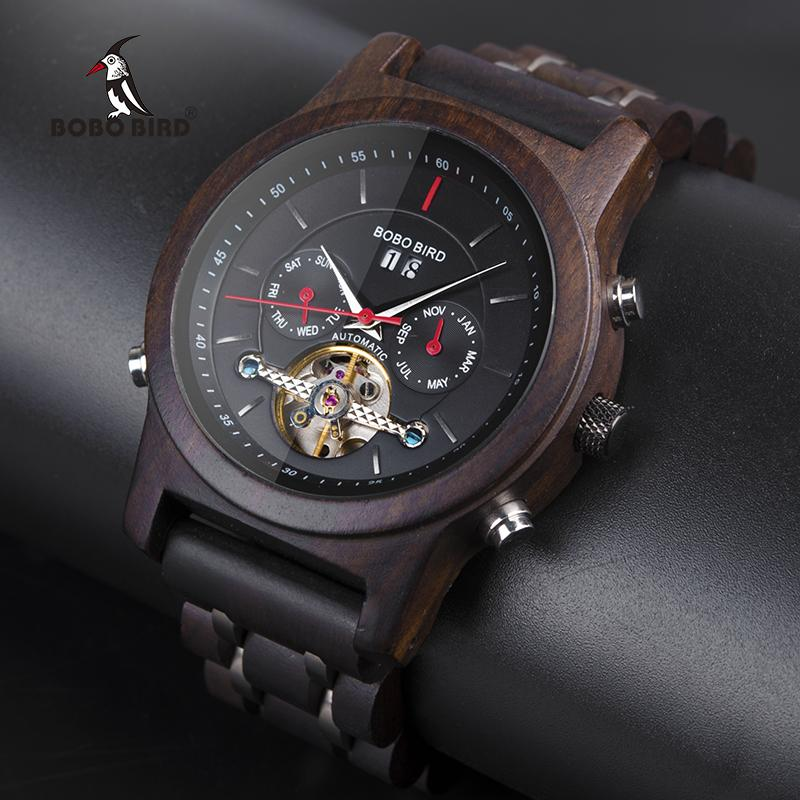Cheap Mechanical Watches BOBO BIRD Automatic Skeleton Mechanical Watches Men Wooden Luxury Watch Self Wind relógio masculino automatic