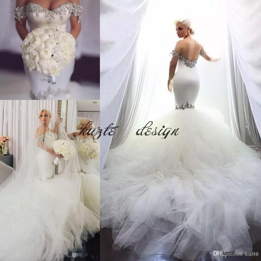 07829d956a46 Bling Bling Mermaid Satin Wedding Dresses Crystal Beaded Slim Tulle Puffy  Chapel Train Bridal Gowns Custom 2018 Long Vestidos De Novia Bridal Wedding  ...