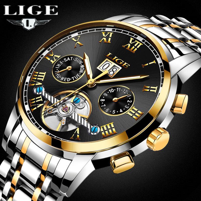 317cf060c692 Compre LIGE Reloj Hombres Negocios Impermeable Reloj Para Hombre Relojes  Marca Moda De Lujo Casual Deporte Mecánico Reloj De Pulsera Relogio  Masculino A ...