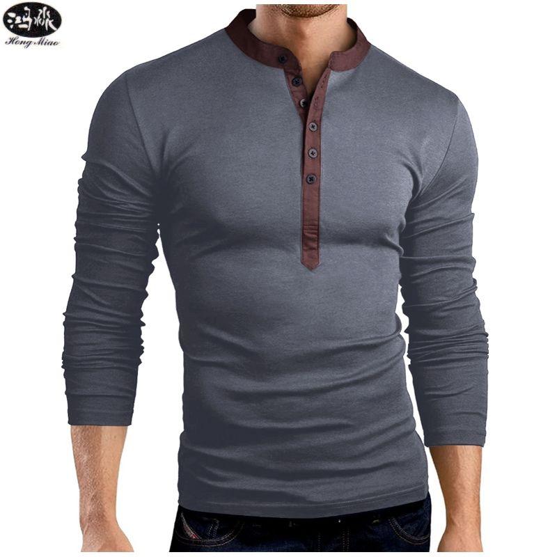 fae472ed823406 Großhandel HongMiao 2018 Neue Mode Männer Henley Shirt T Tops Langarm  Stilvolle Slim Fit T Shirt Knopfleiste Casual T Shirt Q Von Honey111