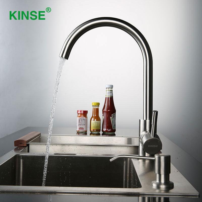 Großhandel Kinse 304 Edelstahl Gebürstet Küchenarmatur Kalt Und ...