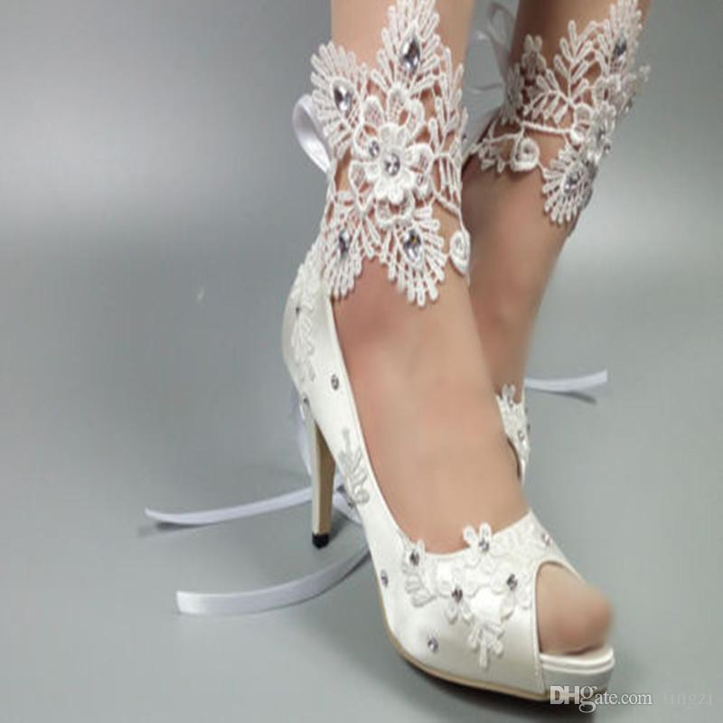 b332315e7166 Elegant White Silk Lace Wedding Shoes Crystal Straps Peep Toe Satin Shoes  Women 2018 New Arrival 5 8 10Cm High Heel Pumps New Peep Toe Wedding Shoes  Crystal ...