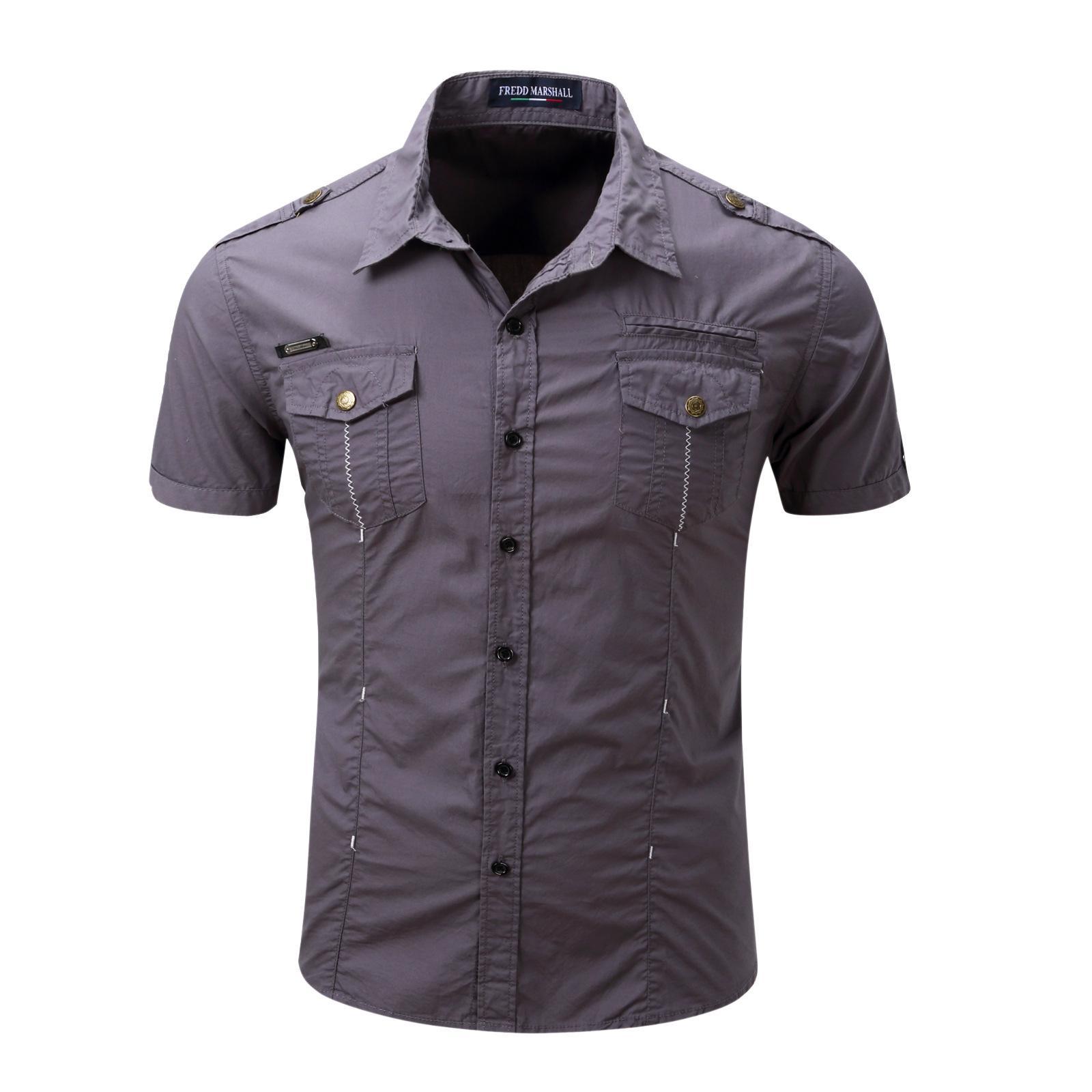 e46b1bb429 2019 2018 Summer Men Shirt Dress Camisa Social Masculina Brand Clothing Men  Shirts Slim Fit Short Sleeves Blouses Outdoor Military Shirt From  Qingchunxu