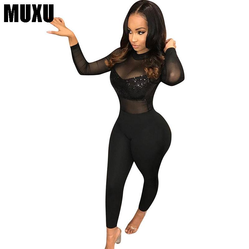 b111b659e46 2019 MUXU Sexy Black Bodysuit Women Sequin Jumpsuit Europe And The United  States Jumpsuits Rompers Transparent Long Sleeve Body From Aimea