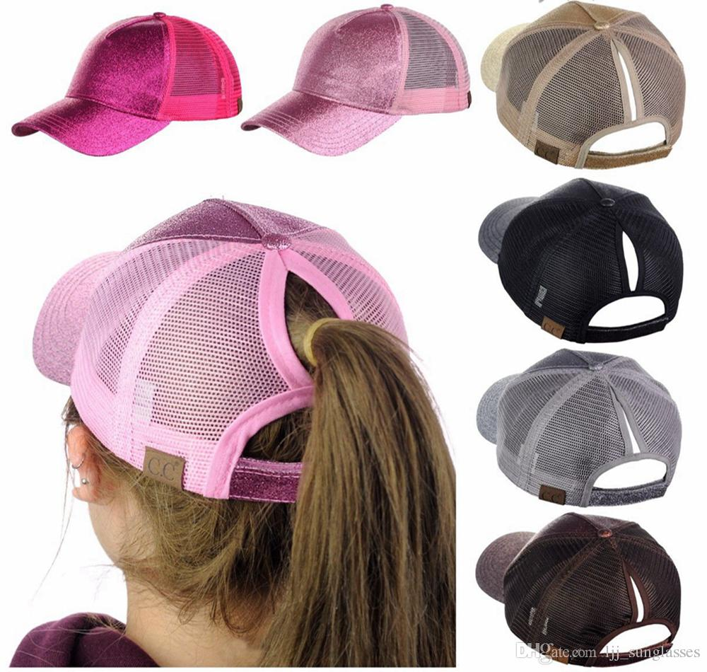 a92fca8dedd CC Glitter Ponytail Ball Cap Summer Hat Flash Ponytail Hat Beach ...
