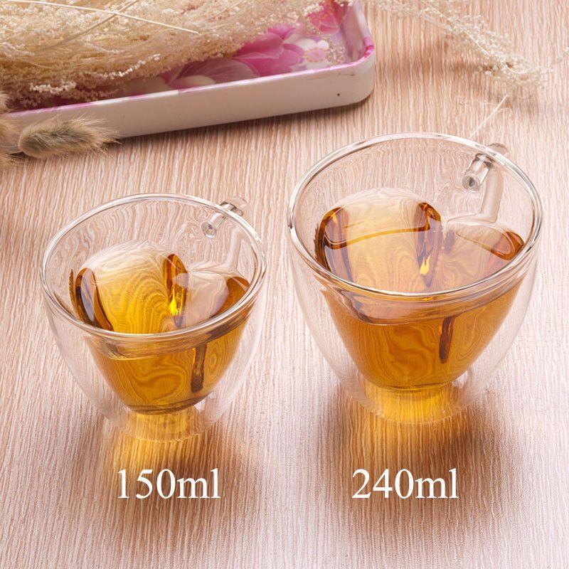 Tazze da caffè di vetro della doppia parete 180ml 240ml Tazze di tè del latte a forma di cuore trasparenti con la maniglia Regali romantici
