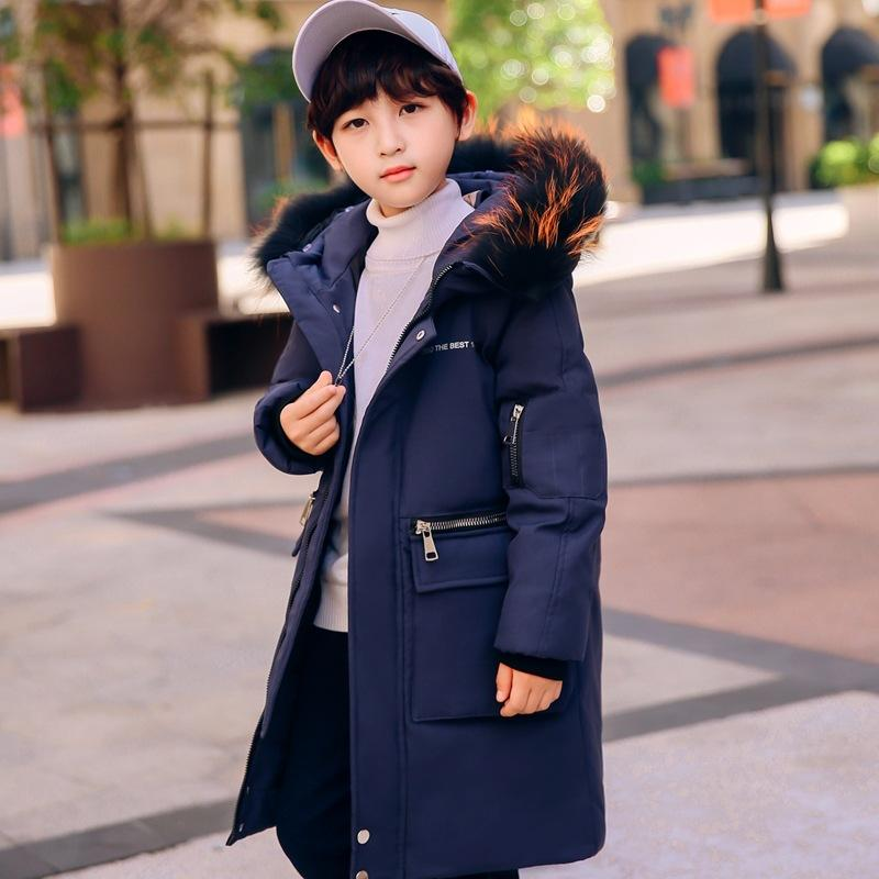 Warm Hooded Wool Collar Coat Outerwear & Coats Medium And Large Size Girls Down Jacket New Korean Version Of Thickening Parent Child Clothing