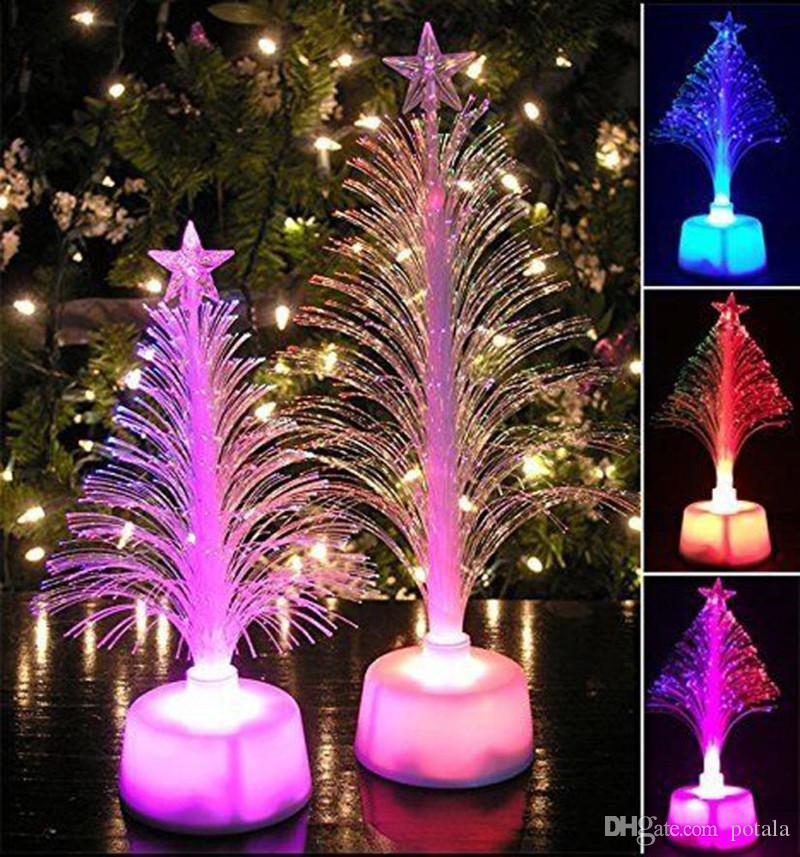 2018 merry led color changing mini christmas xmas tree home table party decor charming halloween cheer pom lighting up kids toys shinning stars from potala