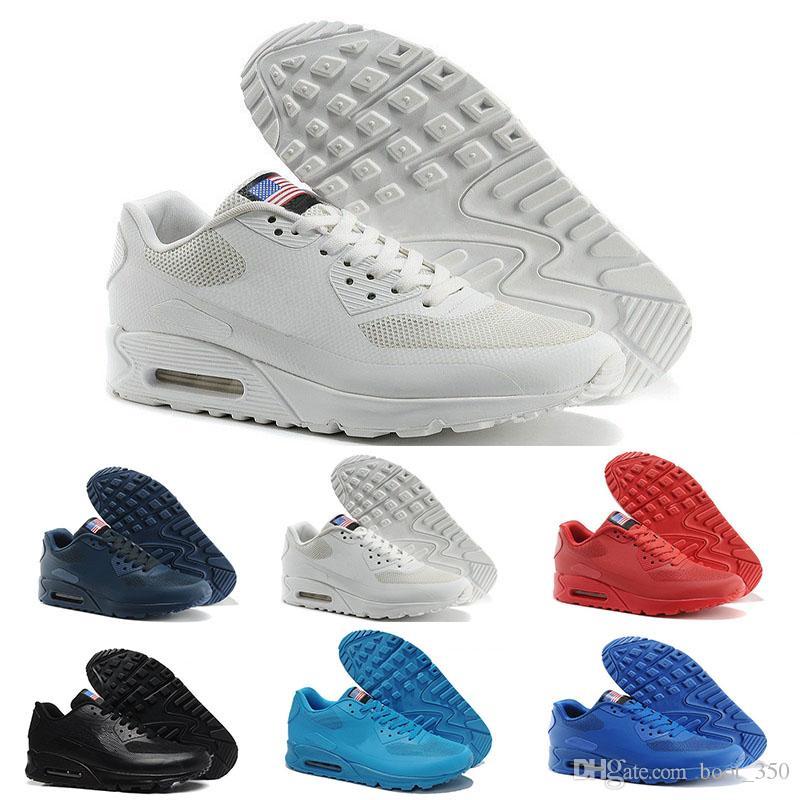 huge discount 4418b bce41 Acheter Nike Air Max 90 Flag America Nouveau 90 HYP PRM QS Hommes Femmes  Chaussures Décontractées Années 90 Drapeau Américain Noir Blanc Rouge  Marine Bleu ...